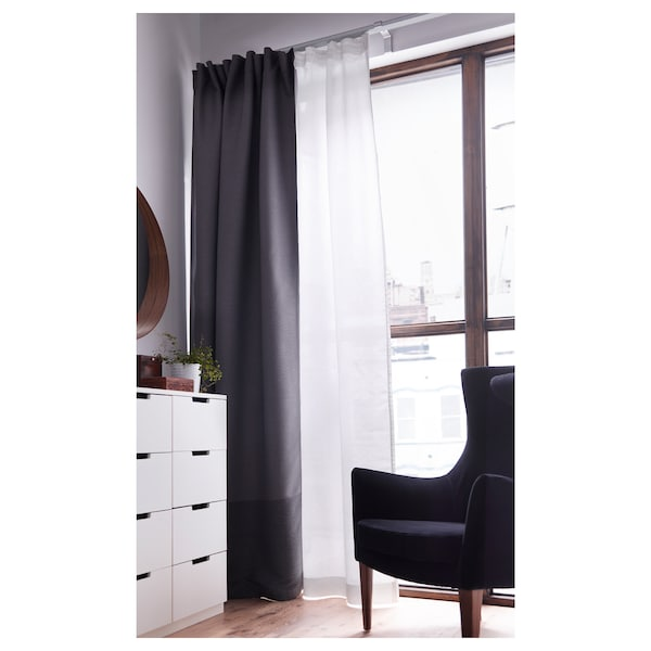 MARJUN Room darkening curtains, 1 pair, gray, 57x98 ""