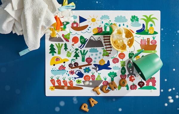 "MATVRÅ Place mat, fruit/vegetables pattern/multicolor, 15 ¾x11 ¾ """