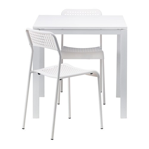 MELLTORP / ADDE Table and 2 chairs   The melamine table top is moisture resistant, stain resistant and easy to keep clean.  Seats 4.