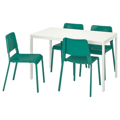 "MELLTORP / TEODORES table and 4 chairs white/green 49 1/4 "" 29 1/2 "" 28 3/8 """