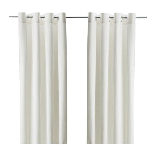 MERETE Curtains, 1 pair   Thick fabric helps to darken the room and reduce sound.