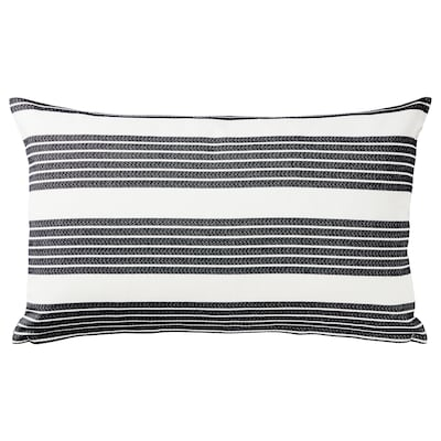 METTALISE Cushion cover, white/dark gray, 16x26 ""