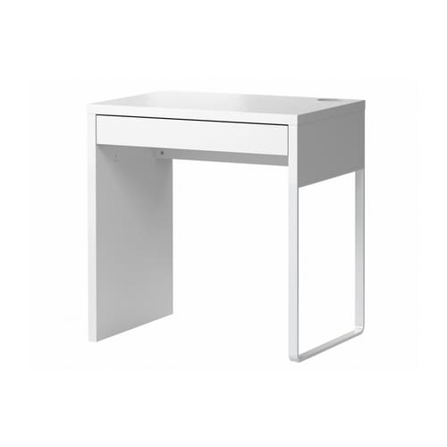 MICKE Desk   It's easy to keep cords and cables out of sight but close at hand with the cable outlet at the back.