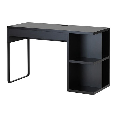 MICKE Desk with integrated storage IKEA It's easy to keep cords and cables out of sight but close at hand with the cable outlet at the back.