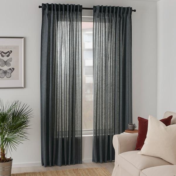 """MILDRUN Curtains, 1 pair, dark gray/striped, 57x98 """""""