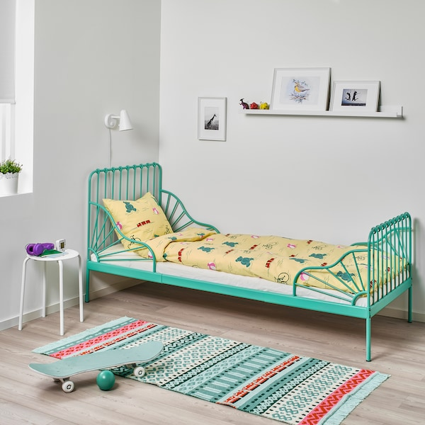 """MINNEN Ext bed frame with slatted bed base, turquoise, 38 1/4x74 3/4 """""""