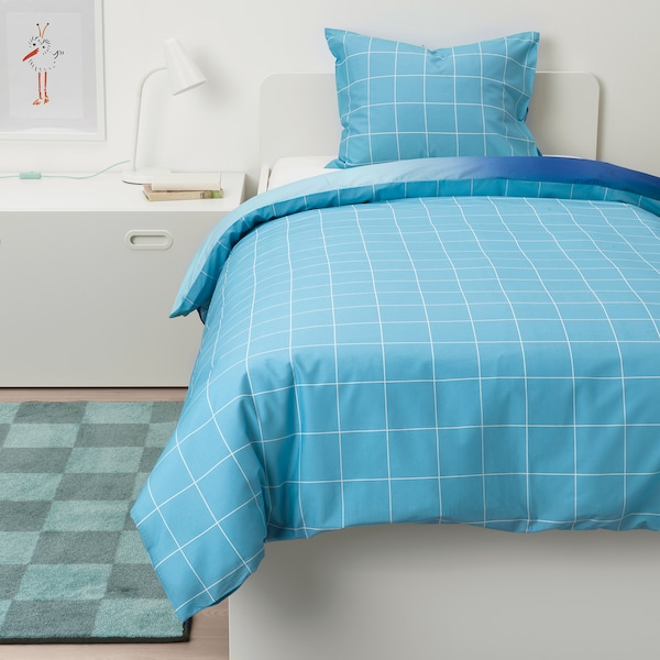 MÖJLIGHET Duvet cover and pillowcase(s), blue/graphical patterned, Twin