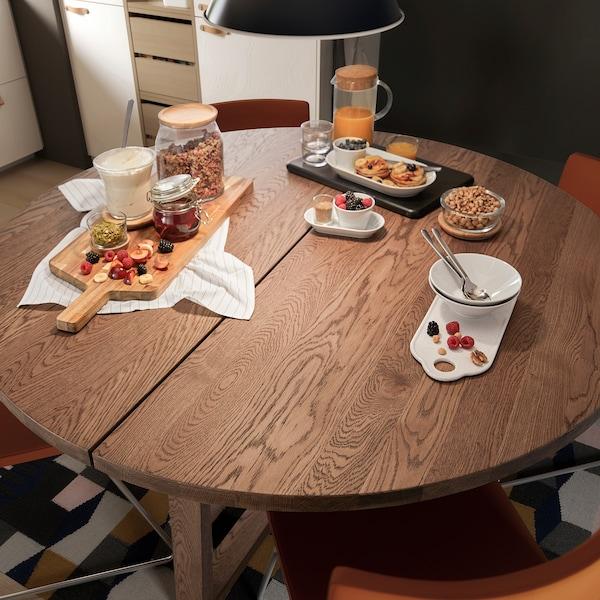 """MÖRBYLÅNGA Table, oak veneer brown stained, 57 1/8 """""""