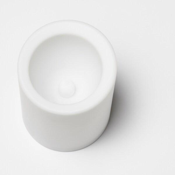"MOGNAD LED block candle battery operated/white 4 "" 3 """