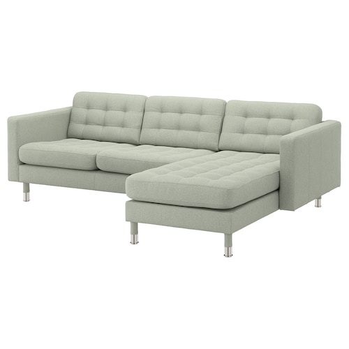 "MORABO sofa with chaise/Gunnared light green/metal 96 1/8 "" 31 7/8 "" 50 3/8 "" 26 3/8 "" 31 7/8 "" 26 3/8 "" 62 1/4 "" 36 1/4 "" 6 1/4 "" 5 1/8 "" 85 7/8 "" 24 "" 18 1/2 """