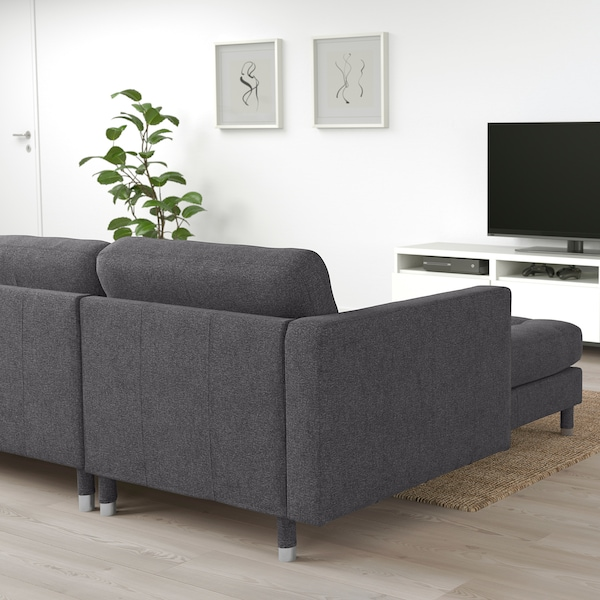 """MORABO sectional, 4-seat with chaise/Gunnared dark gray/metal 111 3/4 """" 101 5/8 """" 31 7/8 """" 26 3/8 """" 36 1/4 """" 62 1/4 """" 24 """" 50 3/8 """" 18 1/2 """" 26 3/8 """" 5 1/8 """" 6 1/4 """""""