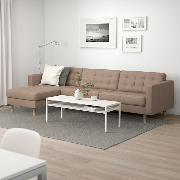 MORABO Sectional, 4-seat, with chaise/Grann/Bomstad dark beige/wood
