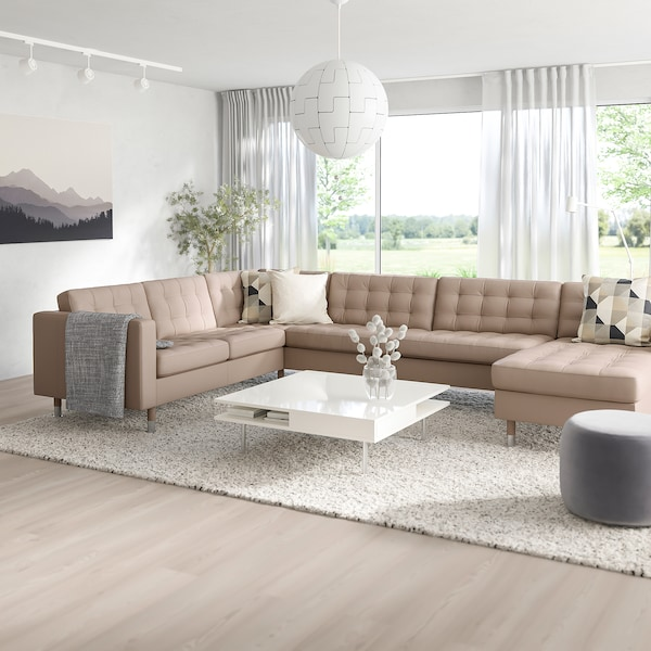 MORABO Sectional, 5-seat, with chaise/Grann/Bomstad dark beige/metal