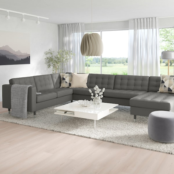 MORABO Sectional, 5-seat, with chaise/Grann/Bomstad gray-green/metal