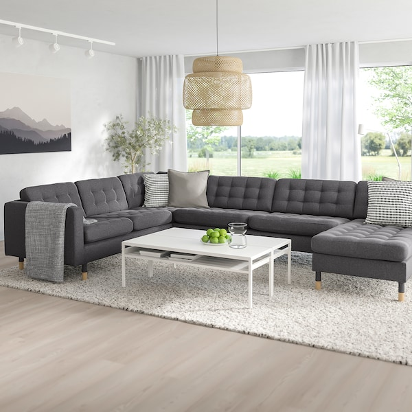 MORABO Sectional, 5-seat, with chaise/Gunnared dark gray/wood