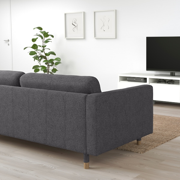 MORABO Sofa, Gunnared dark gray/wood