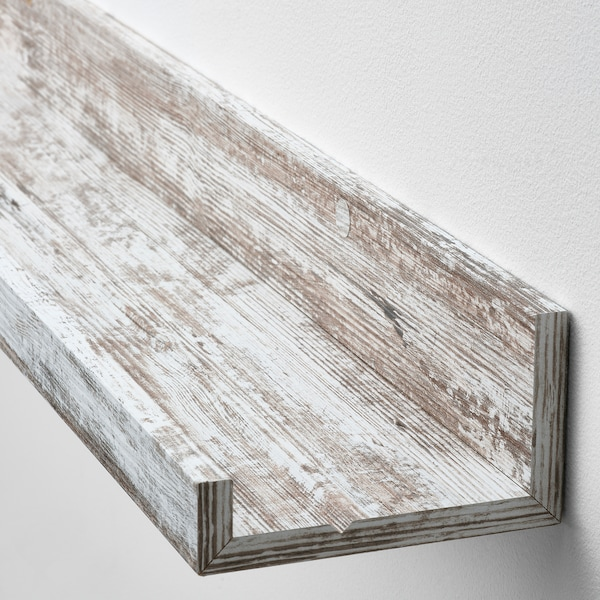 """MOSSLANDA Picture ledge, white stained pine effect, 45 1/4 """""""