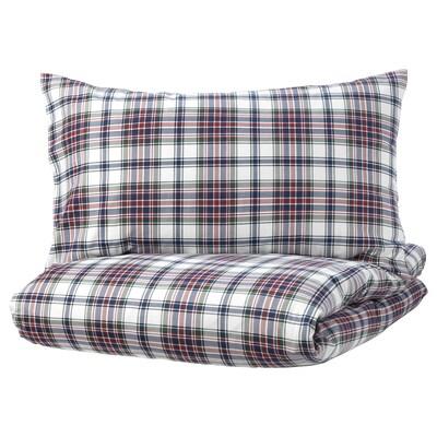 MOSSRUTA Duvet cover and pillowcase(s), multicolor/check, Full/Queen (Double/Queen)