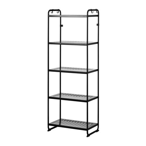 MULIG Shelving unit   Can also be used in bathrooms and other damp indoor areas.  The shelves are durable, stain resistant and easy to clean.