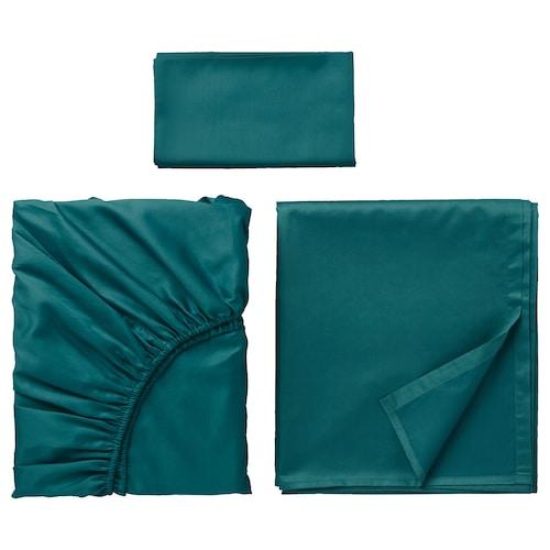 "NATTJASMIN sheet set dark green 310 square inches 38 "" 74 "" 1 pack 20 "" 30 "" 66 "" 102 "" 15 """