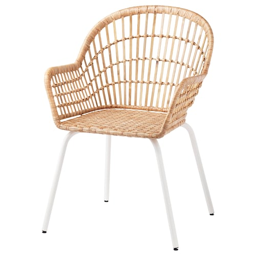 """NILSOVE chair with armrests rattan/white 243 lb 22 1/2 """" 22 1/2 """" 32 1/4 """" 16 1/2 """" 15 3/4 """" 17 3/8 """""""