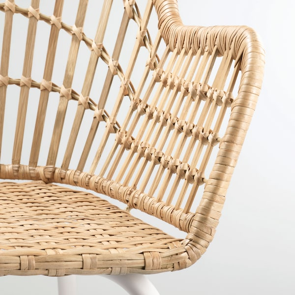 "NILSOVE chair with armrests rattan/white 243 lb 22 1/2 "" 22 1/2 "" 32 1/4 "" 16 1/2 "" 15 3/4 "" 17 3/8 """