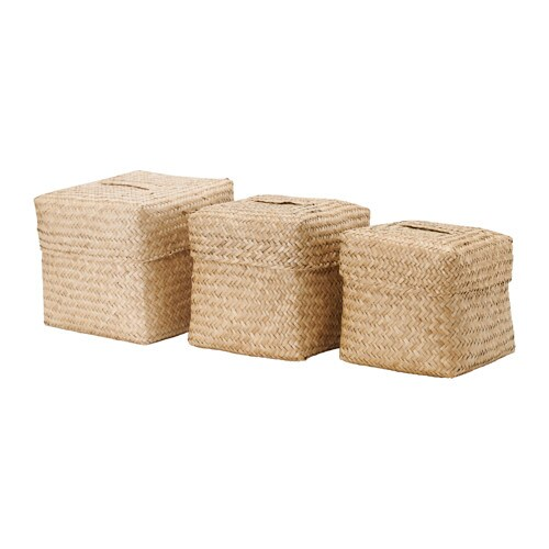 nipprig 2015 box with lid set of 3 seagrass ikea. Black Bedroom Furniture Sets. Home Design Ideas