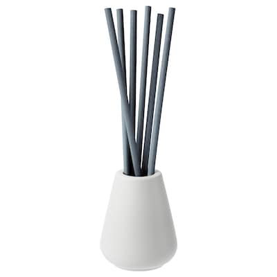 NJUTNING Vase and 6 scented sticks, Blossoming bergamot/gray