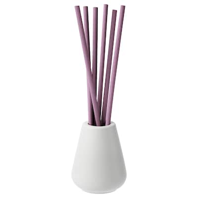 NJUTNING Vase and 6 scented sticks, Lavender bliss/lilac