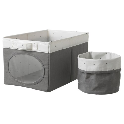"NÖJSAM box and basket gray 9 ¾ "" 14 ½ "" 8 ¾ """