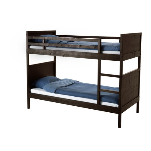 NORDDAL Bunk bed frame   Can be divided into two single beds.  The ladder mounts on the right or the left side of the bed.