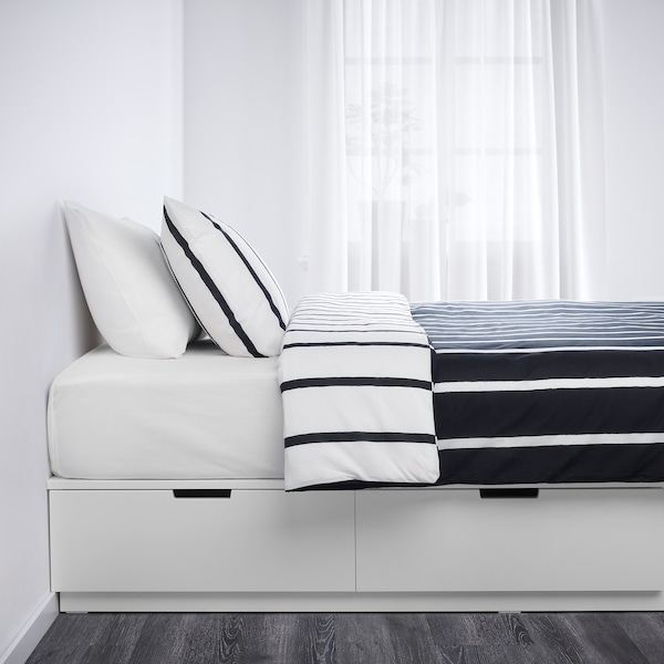 NORDLI Bed frame with storage, white, Queen