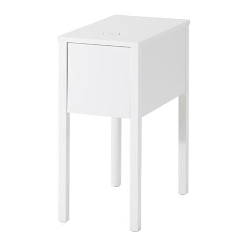 NORDLI Nightstand with hole for charger IKEA On the hidden shelf is room for an outlet strip for your chargers.