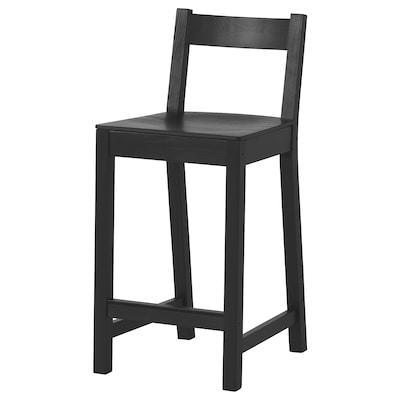 NORDVIKEN Bar stool with backrest, black, 24 3/8 ""