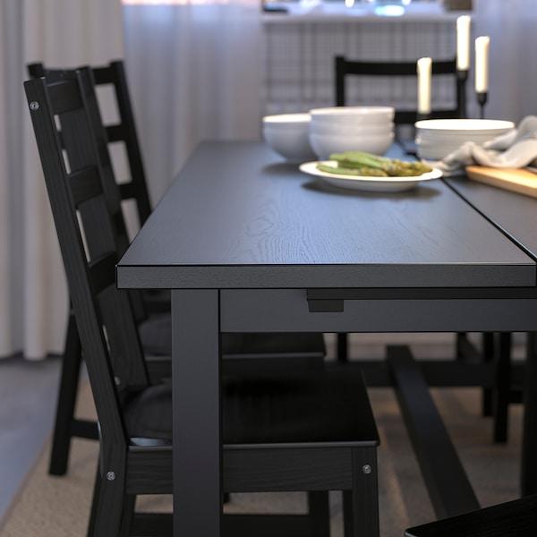 "NORDVIKEN Extendable table, black, 82 5/8/113 3/4x41 3/8 """