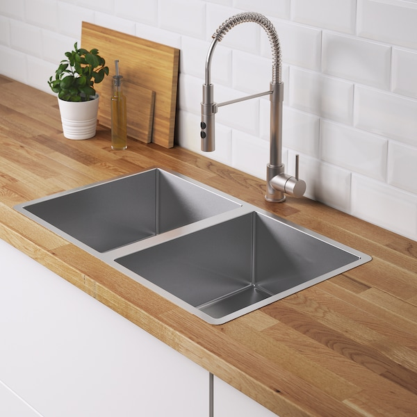 """NORRSJÖN Double bowl dual mount sink, stainless steel, 28 3/4x17 3/8 """""""