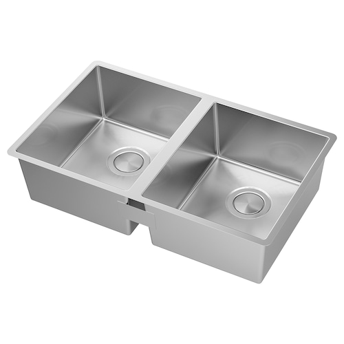 "NORRSJÖN Double bowl dual mount sink stainless steel 16 3/4 "" 28 1/4 "" 7 1/8 "" 13 "" 15 3/4 "" 6 gallon 7 1/8 "" 13 "" 15 3/4 "" 6 gallon 17 1/4 "" 28 3/4 "" 17 3/8 """