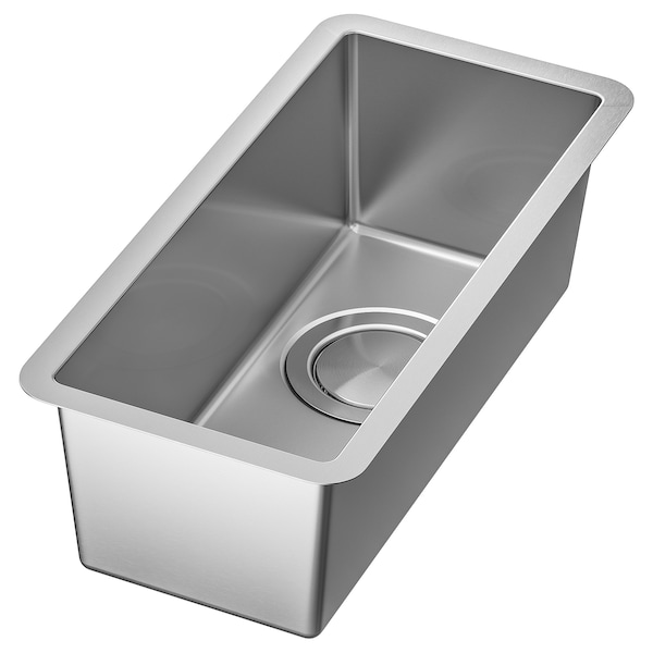 NORRSJÖN Single bowl dual mount sink, stainless steel, 8x17 ""