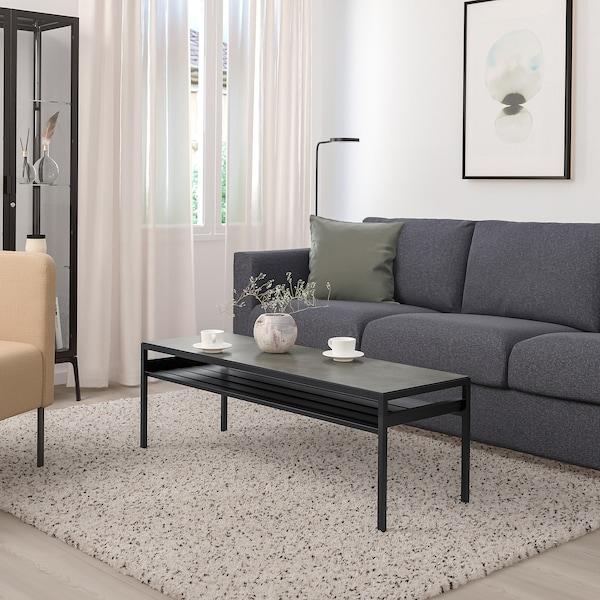 "NYBODA Coffee table w reversible table top, dark gray concrete effect/black, 47 1/4x15 3/4x15 3/4 """