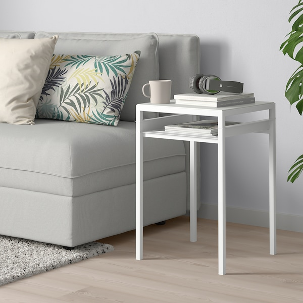 """NYBODA side table w reversible table top light gray concrete effect/white 15 3/4 """" 15 3/4 """" 23 5/8 """""""
