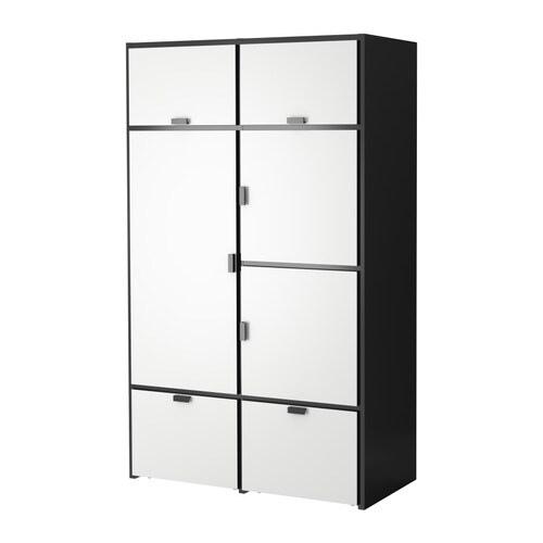 ODDA Wardrobe   The casters make the bottom drawers easy to move.  Adjustable hinges ensure that the doors hang straight.