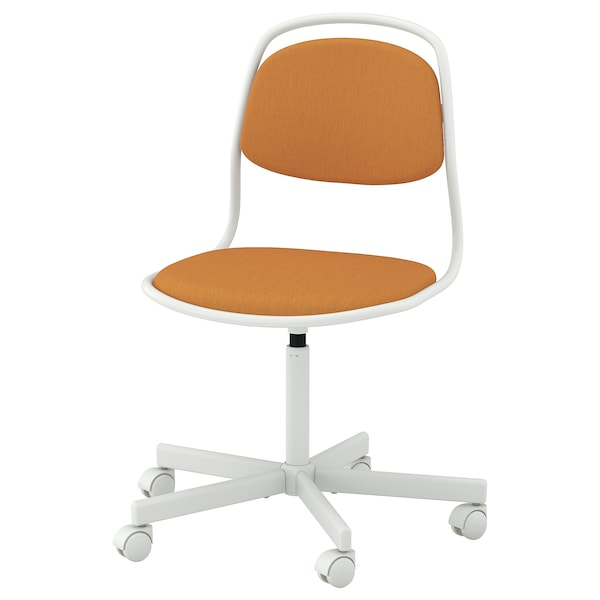 ÖRFJÄLL Swivel chair, white/Vissle dark yellow