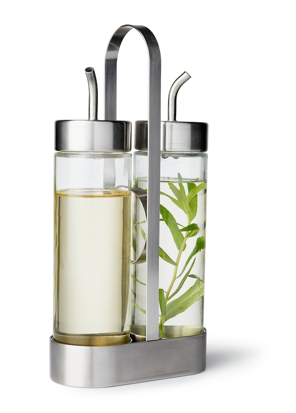 ÖRTFYLLD 3-piece oil & vinegar set, glass/stainless steel