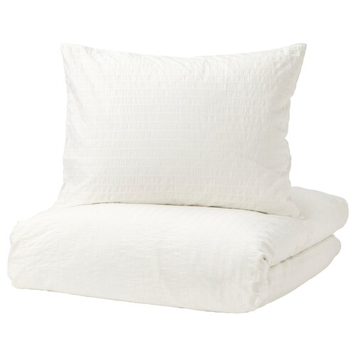 """OFELIA VASS duvet cover and pillowcase(s) white 205 square inches 2 pack 86 """" 86 """" 20 """" 30 """""""