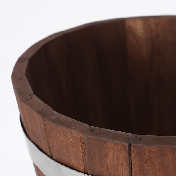 "OGENMELON Plant pot, acacia/outdoor, 11 ¾ """