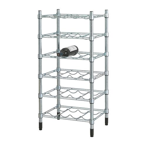 OMAR Bottle shelving unit   Easy to assemble – no tools required.  You can build several vertically if you need more storage space.