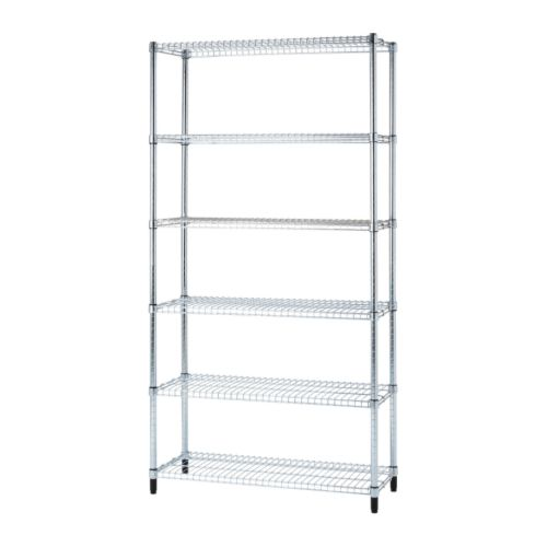 OMAR 1 section shelving unit   Easy to assemble – no tools required.  Also stands steady on an uneven floor since the feet can be adjusted.
