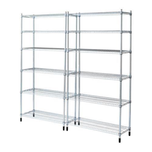 OMAR 2 section shelving unit   Easy to assemble – no tools required.  Also stands steady on an uneven floor since the feet can be adjusted.
