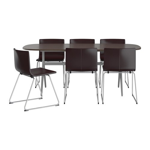 Oppeby oppmanna bernhard table and 6 chairs ikea for Table 6 personnes ikea
