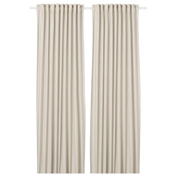 "ORDENSFLY Curtains, 1 pair, white/beige, 57x98 """